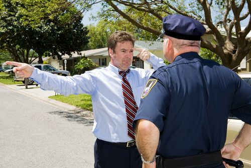 man performing field sobriety tests