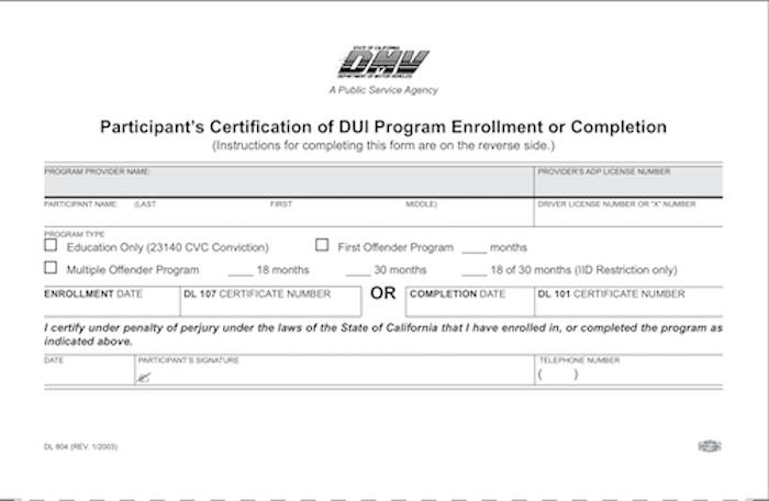 DUI Program Enrollment Paperwork